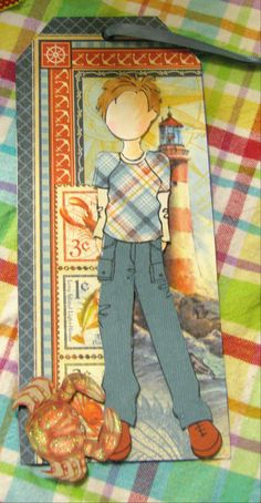 prima doll boy tag using Graphic 45 By the Sea paper