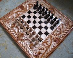 "24"" HQ Hand Carved Chess Board Handmade Wooden Game Set Box Wood Nice Gift 