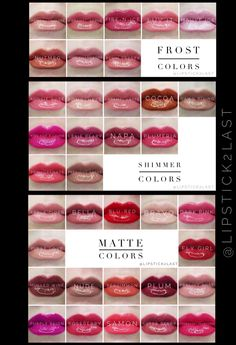 LipSense Colors by Finish. LipSense collage, LipSense Chart, Frost LipSense Colors, Matte LipSense colors, Shimmer LipSense Colors