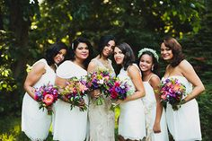 Bridesmaids in white is always classy. Photo via @chazcruz | http://www.weddingpartyapp.com/blog/2014/09/24/chaz-cruz-photography/
