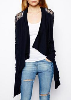 Trendy Lace Patchwork Long Sleeve Navy Blue Cardigans