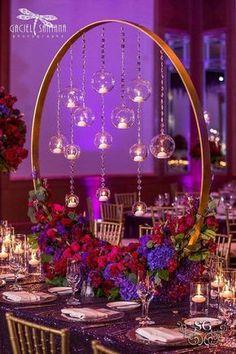 Purple Wedding Centerpieces, Flower Centerpieces, Centerpiece Ideas, Quinceanera Centerpieces, Black Centerpieces, Picture Centerpieces, Chandelier Centerpiece, Wedding Table Arrangements, Manzanita Tree Centerpieces