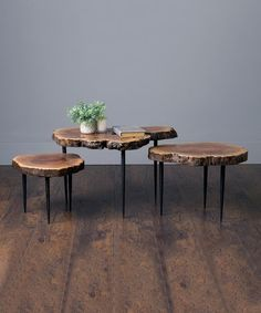 Look what I found on #zulily! Natural Amarind Wood-Top Table - Set of Three #zulilyfinds