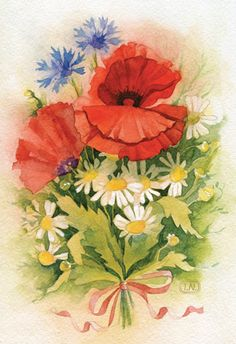 watercolor flowers by Natalia Tyulkina, via Behance