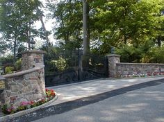 Estate Driveway Gate at Lakefront Lake Hopatcong - mediterranean - Landscape - New York - Lawler Railing & Metal Design