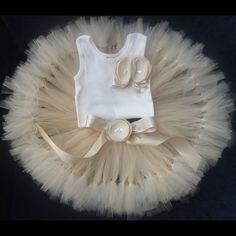 Champagne Tresor Tutu Dress, Champagne Flower Girl Dress. $89.95, via Etsy.