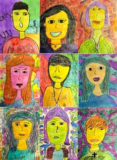 What does color mean to you? Sixth grade students created self-portraits and used color to express their emotions.