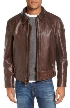Free shipping and returns on Schott NYC Antique Vintage Style Leather Moto Jacket at Nordstrom.com. Modeled after riding jackets worn in the 1960s, this indestructible moto jacket offers true vintage style with a nicely worn appearance. Pieced together from hand-cut panels of richly grained, drum-dyed cowhide leather, the heavyweight jacket is a testament to the premium American craftsmanship and offers unparalleled protection in cold and windy weather. Bi-swing back panels increase the…