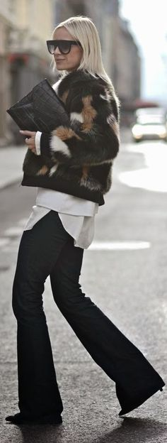Black Multi Faux Fur Jacket