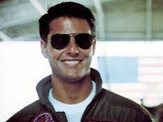 """One of my faves of Tom Cruise (Top Gun)...aviators, bomber jackets, and jets OH MY!!!! He'll always be one of my Hollywood hotties & this is one of my favorite """"looks""""!"""