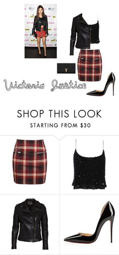 """""""Victoria Justice Outfit"""" by abbybeaumont ❤ liked on Polyvore featuring Badgley Mischka, MuuBaa, Christian Louboutin and Yves Saint Laurent"""