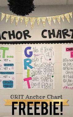 GRIT anchor chart FREEBIE! Growth mindset! 5th Grade Classroom, Classroom Posters, School Classroom, Classroom Ideas, Future Classroom, Classroom Websites, Math Classroom Decorations, Classroom Quotes, Classroom Behavior