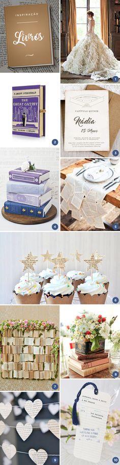 10 ideias para uma festa de 15 anos inspirada nos livros - Moodboard de festa temática - Constance Zahn | 15 anos