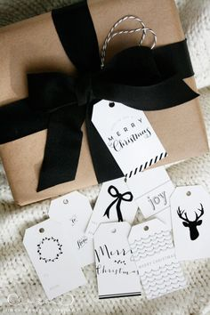 classic christmas tags, black ribbon and kraft paper