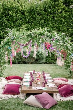 Kids Birthday party decor Long table with hanging floral decor Purple wedding Magical Fairy Garden Birthday Party - Perfete party garden gardenpary # Fairy Birthday Party, Garden Birthday, 5th Birthday, Garden Party Decorations, Birthday Party Decorations, Fairy Party Ideas, Flowers Decoration, Fairy Tea Parties, Kids Garden Parties