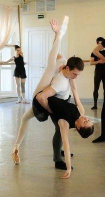 Ksenia Zhiganshina and Sergei Krylov in pas de deux class at Vaganova Ballet Academy.