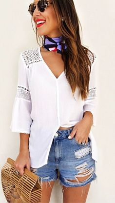 cool summer outfit top + bag + shorts