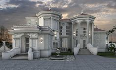 Stunning Modern Mansions – My Life Spot New Modern House, Modern Mansion, Classic House Design, House Front Design, Fachada Colonial, House Design Pictures, Luxury Homes Dream Houses, Mansions Homes, Villa Design