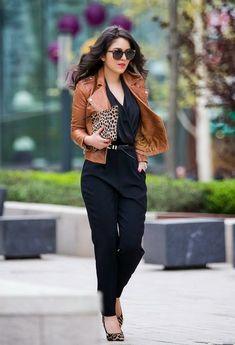 Mango-Jumpsuit-with-Leather-Jacket