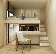 Expert Advice 3 Furniture SpaceSaving Tricks for Small Units is part of Small room bedroom - Take tiny house living to the next level by using modular furniture that you can hide, fold, extend, and stack Room Design Bedroom, Small Room Bedroom, Small Rooms, Small Apartments, Tiny Bedrooms, Bedroom Loft, Mezzanine Bedroom, Bedroom Ideas, Loft Beds