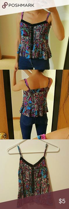 Black Lace Floral Tank Top Blue White Pink #70 Perfect condition. Adjustable straps. Price negotiable and 30% bundle discount with 3 items. Forever 21 Tops Tank Tops