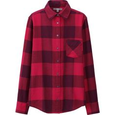 UNIQLO Flannel Check Long Sleeve Shirt ($31) ❤ liked on Polyvore featuring purple checked shirt, purple shirt, layered tops, long sleeve layering shirts and flannel tops