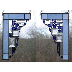 Edel Byrne Light Blue Small Geometric Corner Pair Stained Glass Panels, Artistic Artisan Designer Stain Glass Window Panels