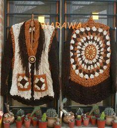 Belleza!!! Combinación Crochet & dos agujas. Visiten la pág de facebook Warawa hay unos tejidos MARAVILLOSOS!!!!!! Crochet Jacket, Crochet Poncho, Irish Crochet, Crochet Capas, Embroidery Bags, Crochet Clothes, Needlework, Crochet Earrings, Crochet Patterns