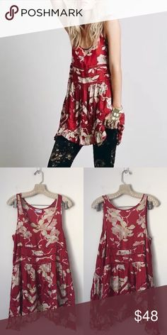 FREE PEOPLE Red Floral Trapeze Slip New condition! * Inner tag cut to prevent store returns Free People Dresses