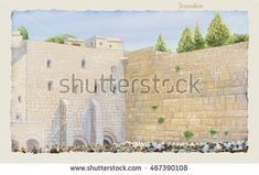 Western Wall Jerusalem, prayer. David's city - old city of Jerusalem. Kotel Israel. Rosh Ha Shana. Sukkot. Illustration. Hand Drawn. Kotel Watercolor. Slichot. Jewish Holiday Religion Tradition Torah