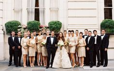 Gold bridesmaid dresses #gold #sequins #bridesmaid...my wedding party will be so glam chic formal classy all of this