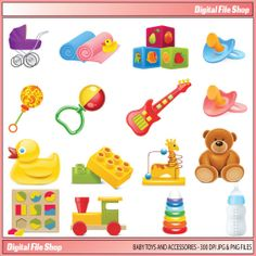 baby toys clipart for personal and commercial use ( baby clip art ) INSTANT DOWNLOAD