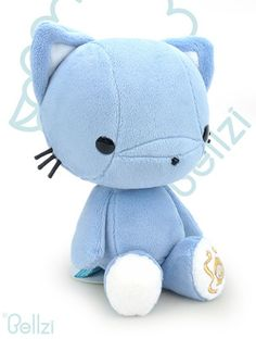 Cute Bellzi® Blue w/ White Contrast Cat Stuffed Animal Plush Doll - Kitti