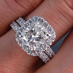2.2 Ct. Hand Crafted Bridal Wedding Set Cushion Cut Halo Pave Natural Diamond Engagement Ring | GIA Certified by DiamondMansion on Etsy