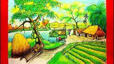 Dạy Vẽ Tranh Phong Cảnh - Cách Vẽ Tranh Phong Cảnh Quê Hương Em - How to... Landscape Drawings, Landscape Pictures, Landscape Paintings, Landscapes, Art Village, Oil Pastel Drawings, Artist Painting, Cactus Plants, Scenery