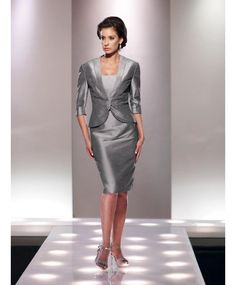 Graceful Strapless Knee Length Silver Taffeta Sheath Column Mother Of The Bride Dress With Jacket