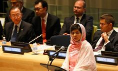 Nobel Peace Prize Laureate Malala Yousufzai speaking at the United Nations.