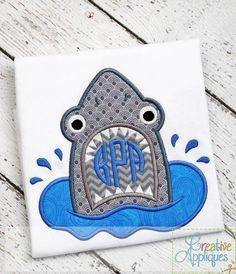 Shark Monogram Applique $ REPIN THIS then click here: https://creativeappliques.com/