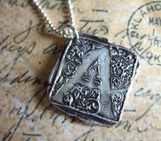 Silver Monogram Necklace Wax Seal Stamped Pendant by HappyGoLicky, $46.00