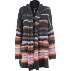 Free People Alpaca Stripe Coat ($179) ❤ liked on Polyvore featuring outerwear, coats, free people, alpaca coat, stripe coat, striped coat and free people coat