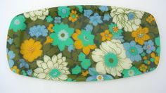 Fabulous Retro Floral Resin Tray 1970s Blue, Green, Yellow and White