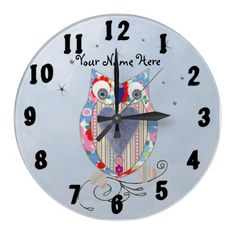 This Owl Baby Nursery Wall Clock is so cute and all ready to be personalised with your child's name for that extra special touch at no extra cost. Great idea for a baby shower or baptism gift or even a birthday present