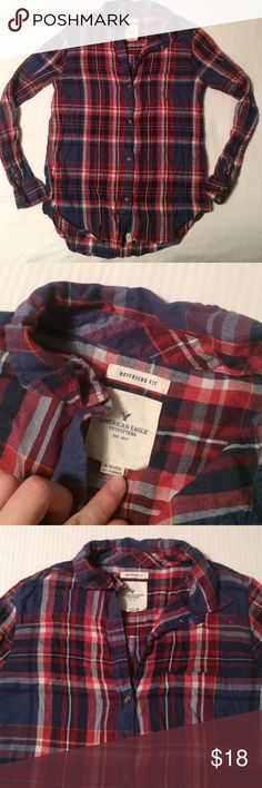 American Eagle Boyfriend Fit Plaid Shirt Super cute. Reposh: it was new without tags when I bought it and then I never wore it so it's still brand new, never worn. Super cute during this season for layering American Eagle Outfitters Tops Button Down Shirts