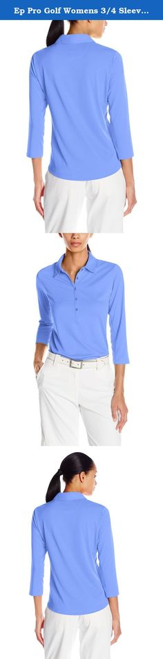 Ep Pro Golf Womens 3/4 Sleeve Golf Polo, Juniper, Large. A technically advanced textured fabric that is subtle, feels super silky on, and performs. This fabric has been developed to have superior wicking characteristics as well as outstanding UV protection. The mesh insets under the arm are also meant to perform with you and add cooling ventilation. Performance and beauty, a winning combination for sure.