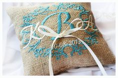 Personalized Burlap Wedding ring pillow , ring pillow, ring bearer pillow with Custom embroidery  Ask a Question $20.00