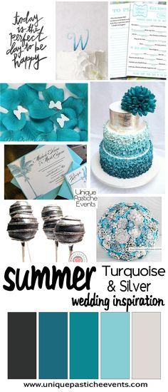Summer wedding ideas in turquoise and silver. With bright hues and a hint of sparkle, this inspiration is fantastic for a beach or destination wedding