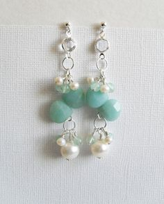 Wedding pearl earrings Bridal Earrings white by bellebridaljewelry, $27.00