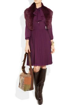 Gorgeous plum silk georgette Gucci dress.  Not sure why they call it 'pussy-bow' though....