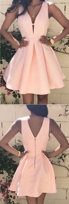 Deep V-Neck Pink Homecoming Dress, Short Satin  Prom Dress, Simple Party dresses for girls