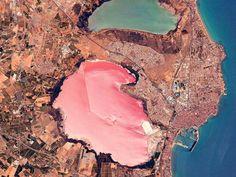 An unexpected pink lake in Spain. Laguna Salada de Torrevieja, Costa Blanca, Spain